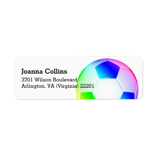 Personalized Girly Colourful Soccer | Football Return Address Label