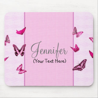 Personalized Girly Pink Butterflies Mouse Pad