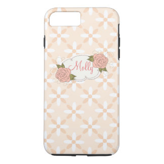 Personalized Girly Pink Floral iPhone 7 Plus Case
