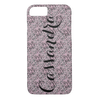 Personalized Girly Pink Lace iPhone 7 Case