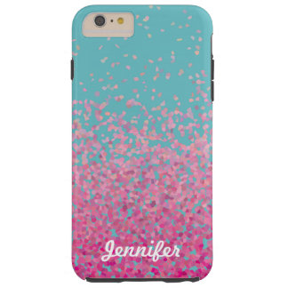 Personalized Girly Pink Ombre Confetti Tough iPhone 6 Plus Case
