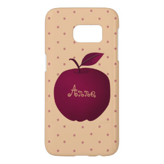 Personalized Girly Purple Apple Pink Polka Dots Samsung Galaxy S7 Case