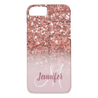 Personalized Girly Rose Gold Glitter Monogram iPhone 8/7 Case