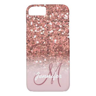 Personalized Girly Rose Gold Glitter Sparkles Name Case-Mate iPhone Case