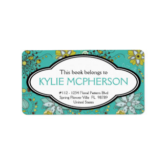 Personalized Girly Spring Floral Pattern Bookplate Label