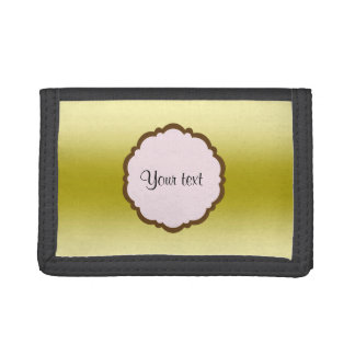Personalized Glamorous Gold Tri-fold Wallets