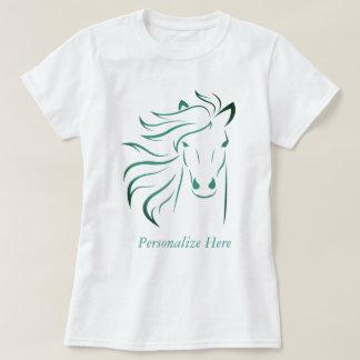 Personalized Glamorous Mane Horse Pony Art Teal T-Shirt
