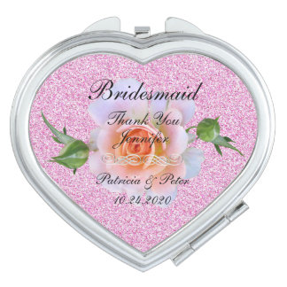Personalized Glitter Bridesmaid Floral Compact Mirrors