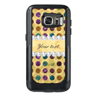 Personalized Glitter Polka Dots Diamonds OtterBox Samsung Galaxy S7 Case