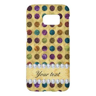 Personalized Glitter Polka Dots Diamonds Samsung Galaxy S7 Case