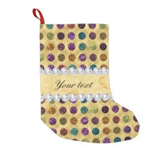 Personalized Glitter Polka Dots Diamonds Small Christmas Stocking