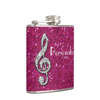 Personalized Glitzy Sparkly Diamond Music Note Flasks