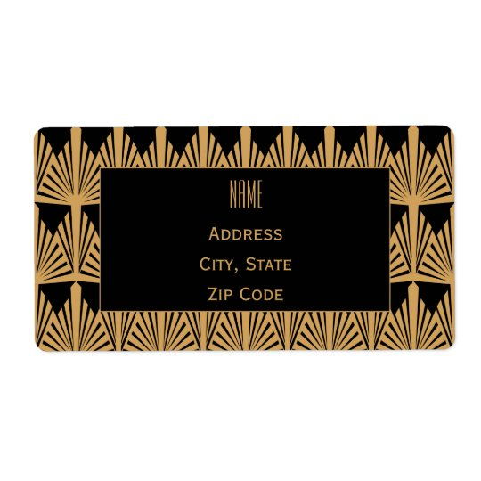 Personalized Gold and Black Art Deco Pattern