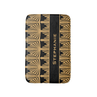 Personalized Gold and Black Art Deco Pattern Bath Mat