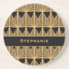 Personalized Gold and Black Art Deco Pattern Coaster