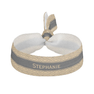Personalized Gold and Black Art Deco Pattern Hair Tie
