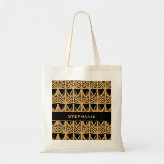 Personalized Gold and Black Art Deco Pattern Tote Bag