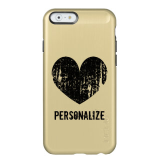 Personalized gold and black heart iPhone 6 case