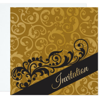 Personalized gold black birthday party invitation
