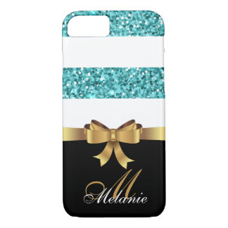 Personalized Gold, Black BLUE  GLITTER STRIPES BOW iPhone 8/7 Case