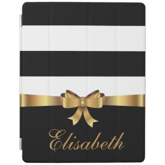 Personalized Gold, Black Bold Stripes elegant BOW iPad Cover