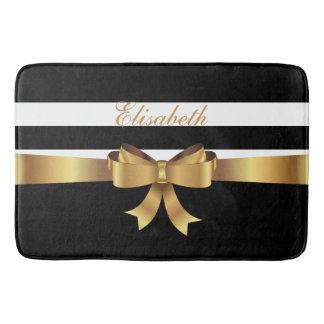 Personalized Gold, Black Bold Stripes Golden BOW Bath Mat