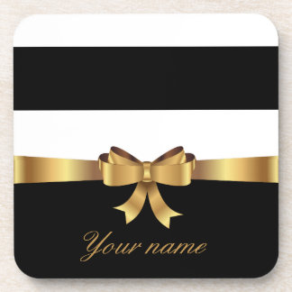 Personalized Gold, Black Bold Stripes Golden BOW Coaster