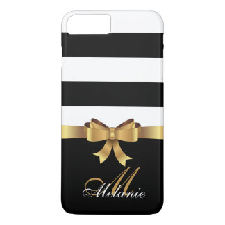 Personalized Gold, Black Bold Stripes Golden BOW iPhone 8 Plus/7 Plus Case