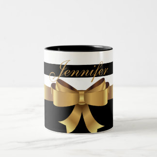Personalized Gold, Black Bold Stripes Golden BOW Two-Tone Coffee Mug