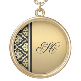 personalized gold black damask neckace gold plated necklace