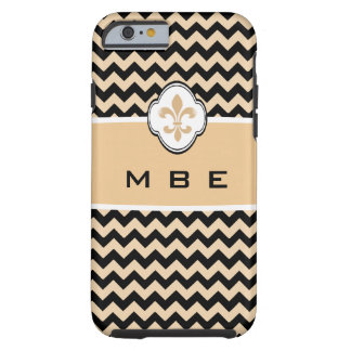 Personalized Gold Black Fleur de Lis Chevron Tough iPhone 6 Case