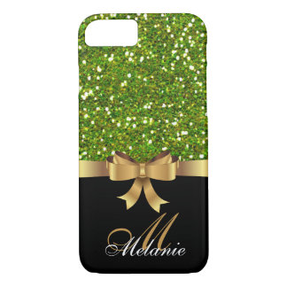 Personalized Gold, Black GREEN GLITTER  BOW iPhone 8/7 Case
