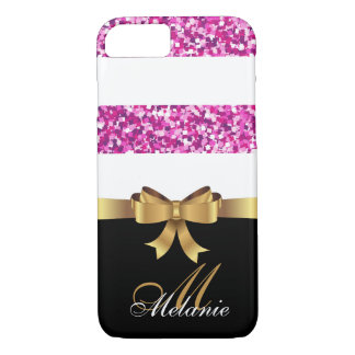 Personalized Gold, Black PINK GLITTER STRIPES BOW iPhone 8/7 Case
