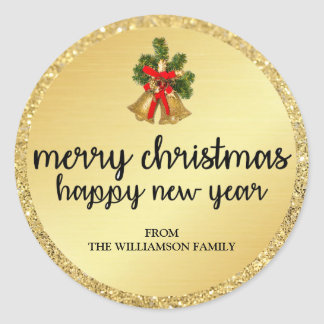 Personalized Gold Christmas Bells Envelope Seals
