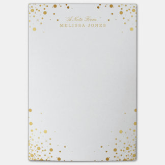 Personalized Gold Confetti Dots Post-it® Notes