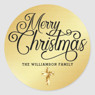 Personalized Gold Cross Merry Christmas Christian Classic Round Sticker