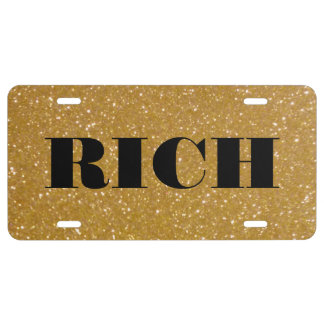 Personalized gold faux glitter license plate
