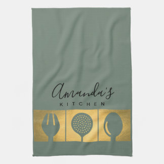 PERSONALIZED GOLD FAUX SPOON FORK SKIMMER CHEF KITCHEN TOWEL