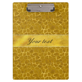 Personalized Gold Foil Giraffe Skin Pattern Clipboard