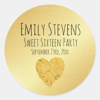 Personalized Gold Foil Heart Sweet 16 Sticker