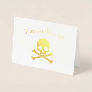 Personalized Gold Foil Skull And Crossbones Foil Card