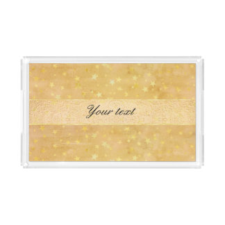 Personalized Gold Foil Stars Watercolor Acrylic Tray