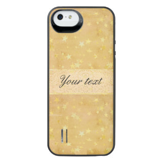 Personalized Gold Foil Stars Watercolor iPhone SE/5/5s Battery Case