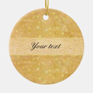 Personalized Gold Foil Stars Watercolor Round Ceramic Ornament
