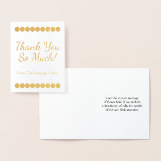 "Personalized Gold Foil ""Thank You So Much!"" Card"