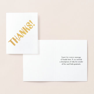 "Personalized Gold Foil ""THANKS!"" Card"