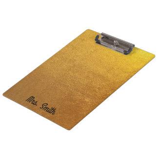 Personalized Gold Foil Tone Clipboard