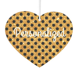 Personalized Gold Glitter Black Polka Dots Air Freshener