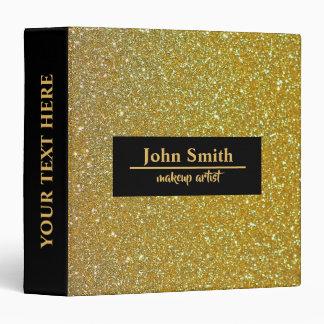 Personalized Gold Glitter Print Black Badge Binder