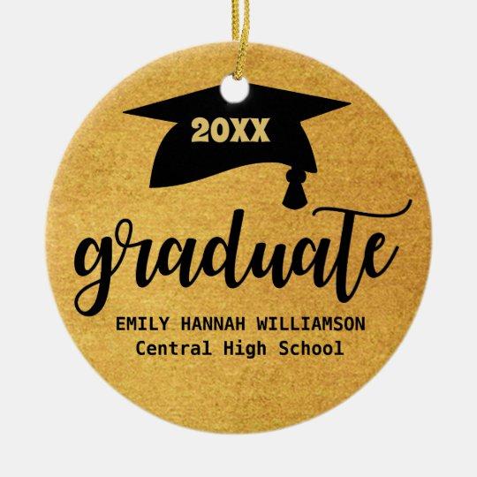 Personalized Gold Graduation Mortar Board Ceramic Ornament